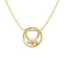 Round Fire Opal 14K Yellow Gold Pendant with Diamond