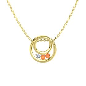 Round Fire Opal 14K Yellow Gold Pendant with Fire Opal and Diamond