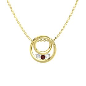 Round Red Garnet 14K Yellow Gold Pendant with White Sapphire