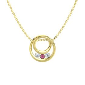 Round Rhodolite Garnet 14K Yellow Gold Pendant with Diamond