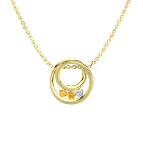 Round Citrine 14K Yellow Gold Pendant with Diamond and Citrine