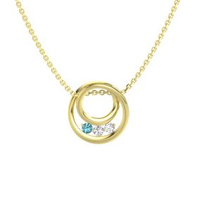 Round White Sapphire 14K Yellow Gold Pendant with White Sapphire and London Blue Topaz