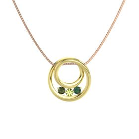 Round Peridot 14K Yellow Gold Pendant with Alexandrite and Green Tourmaline