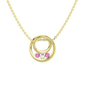Round Aquamarine 14K Yellow Gold Necklace with Pink Tourmaline