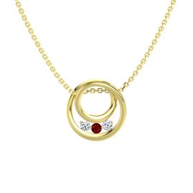 Round Ruby 14K Yellow Gold Pendant with Diamond