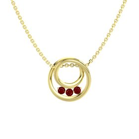Round Ruby 14K Yellow Gold Pendant with Ruby
