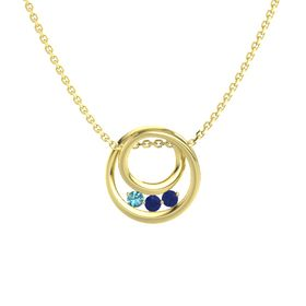 Round Blue Sapphire 14K Yellow Gold Pendant with Blue Sapphire and London Blue Topaz