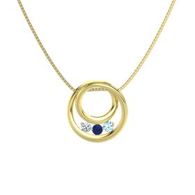 Round Blue Sapphire 14K Yellow Gold Pendant with Blue Topaz and Diamond