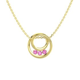 Round Pink Tourmaline 14K Yellow Gold Pendant with Pink Tourmaline