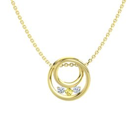 Round Yellow Sapphire 14K Yellow Gold Pendant with Diamond