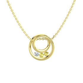 Round Yellow Sapphire 14K Yellow Gold Pendant with Yellow Sapphire and Diamond