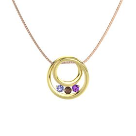 Round Smoky Quartz 14K Yellow Gold Pendant with Amethyst and Tanzanite