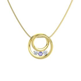 Round Tanzanite 14K Yellow Gold Pendant with Diamond