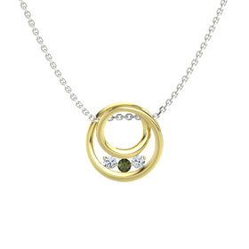 Round Green Tourmaline 18K Yellow Gold Pendant with Diamond