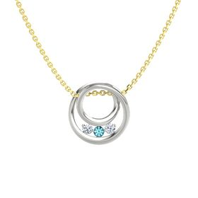 Round London Blue Topaz Platinum Pendant with Diamond