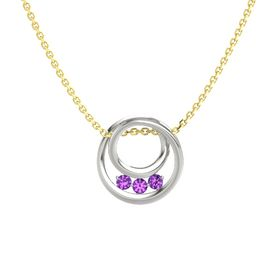 Round Amethyst Platinum Pendant with Amethyst