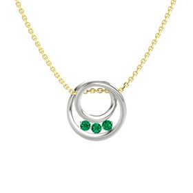 Round Emerald Platinum Pendant with Emerald