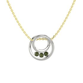 Round Green Tourmaline Platinum Pendant with Green Tourmaline