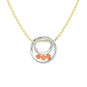 Round Fire Opal Sterling Silver Pendant with Fire Opal
