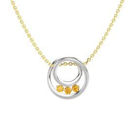 Round Citrine Sterling Silver Necklace with Citrine
