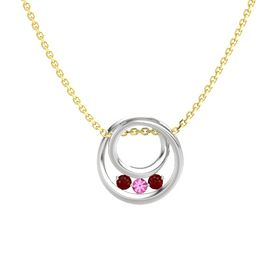 Round Pink Tourmaline Sterling Silver Pendant with Ruby