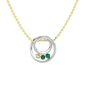 Round Alexandrite Sterling Silver Pendant with Emerald and Peridot