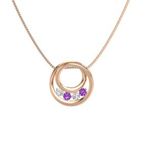 Round Amethyst 14K Rose Gold Necklace with White Sapphire