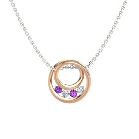 Round Diamond 14K Rose Gold Pendant with Amethyst
