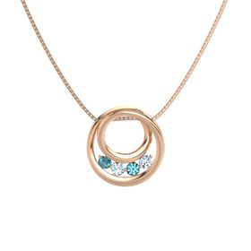 Round Aquamarine 14K Rose Gold Necklace with London Blue Topaz