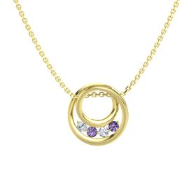 Round Iolite 14K Yellow Gold Pendant with Diamond