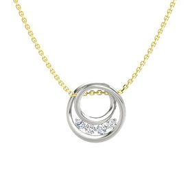 Round White Sapphire 18K White Gold Pendant with Diamond