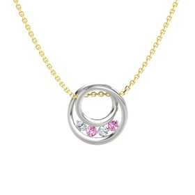 Round Pink Sapphire 18K White Gold Pendant with Diamond
