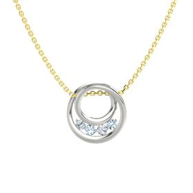 Round Aquamarine 18K White Gold Pendant with Diamond