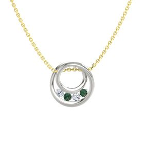 Round Alexandrite 18K White Gold Pendant with Diamond