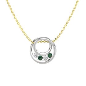 Round Alexandrite Sterling Silver Pendant with White Sapphire