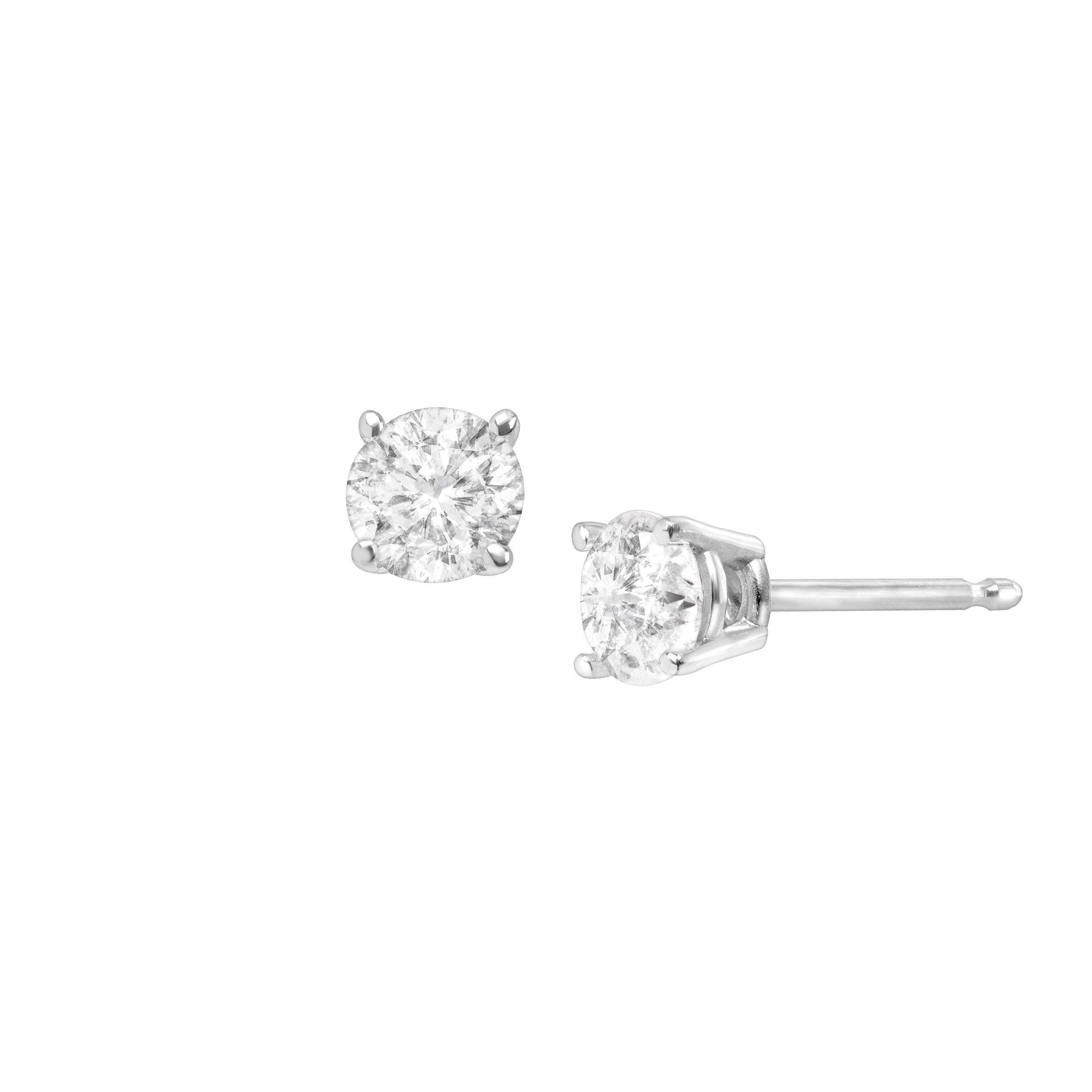 1 2 Ct Round Cut Diamond Stud Earrings In 14k White Gold