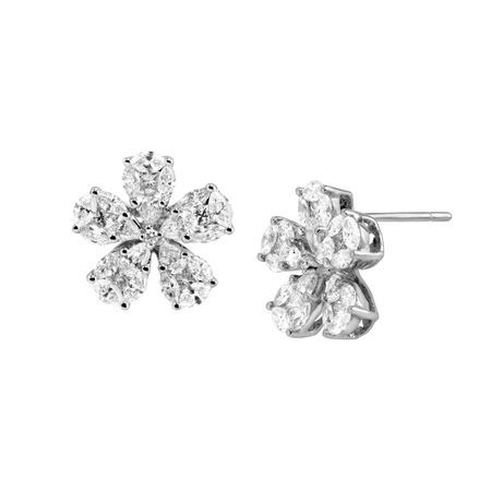 2 1/4 ct Diamond Flower Stud Earrings