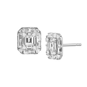 1 1/4 ct Diamond Tile Stud Earrings