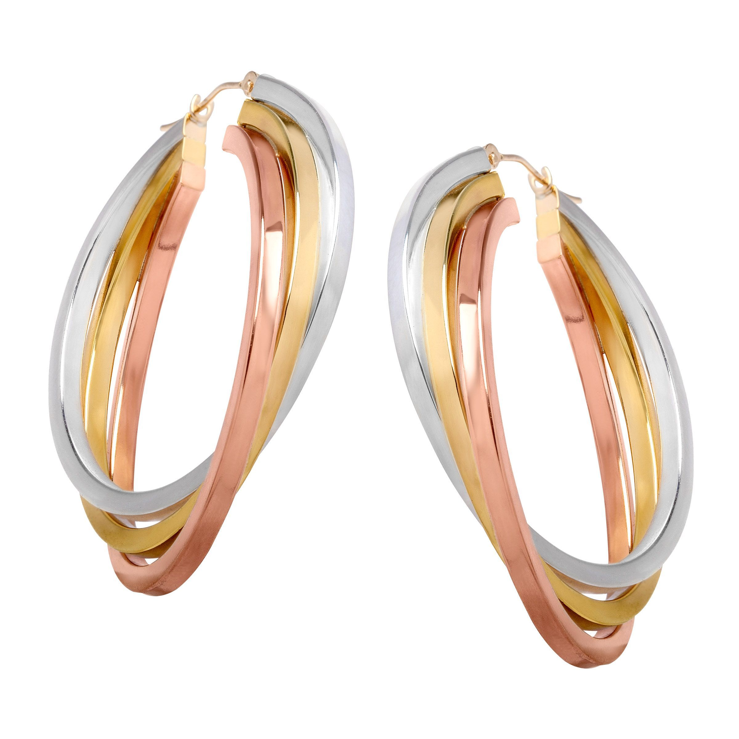 Details About Triple Hoop Earrings In 14k Two Tone Gold Plated Sterling Silver