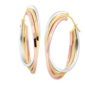 Stacked Three-Tone Hoop Earrings