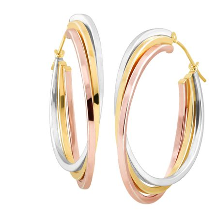 146218b58 Stacked Three-Tone Hoop Earrings in 14K Yellow & Rose Gold-Bonded ...