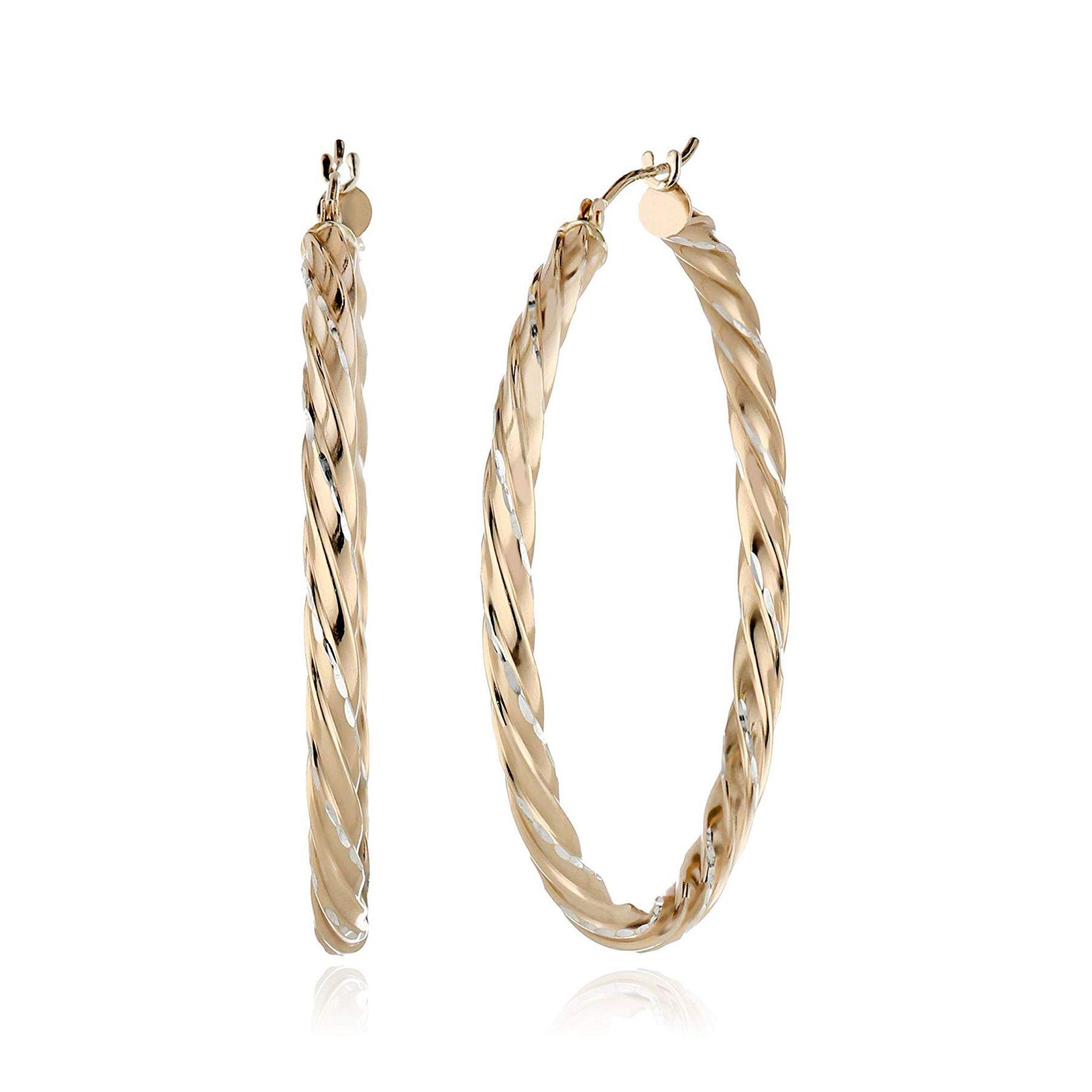 40 Mm Twisted Hoop Earrings In 14k Gold Bonded Sterling Silver