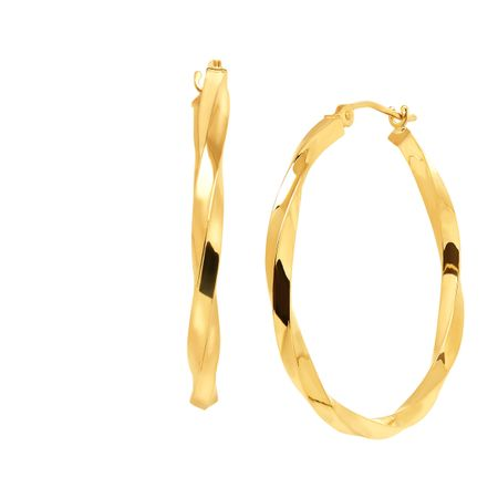 Just Gold 30 mm Twisted Tube Hoop Earrings in 14K Gold