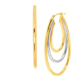 Two-Tone Triple Oval Hoop Earrings