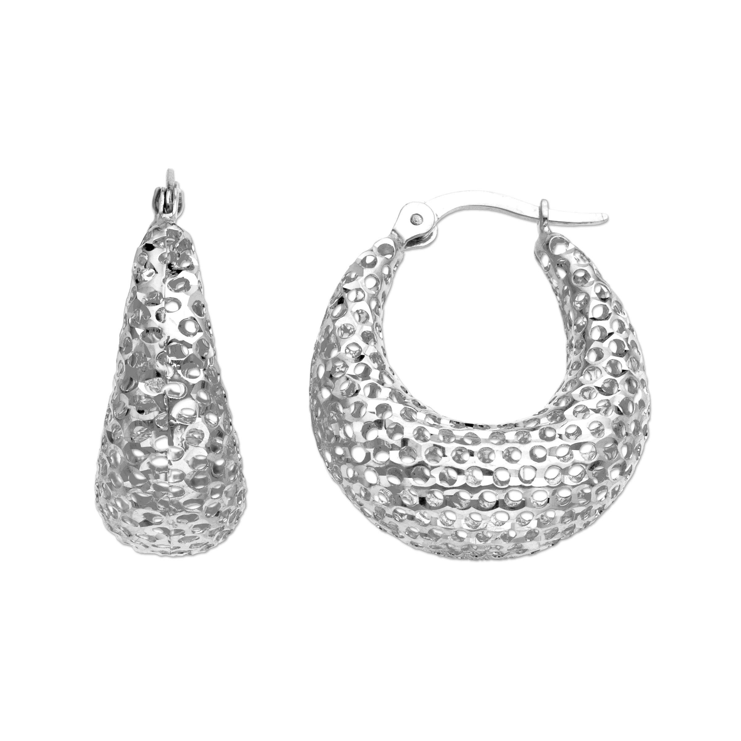 c0a76059b Eternity Gold Mesh Hoop Earrings in 14K White Gold 729367825131 | eBay