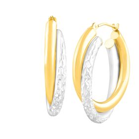 Dual Crystal-Cut Hoop Earrings