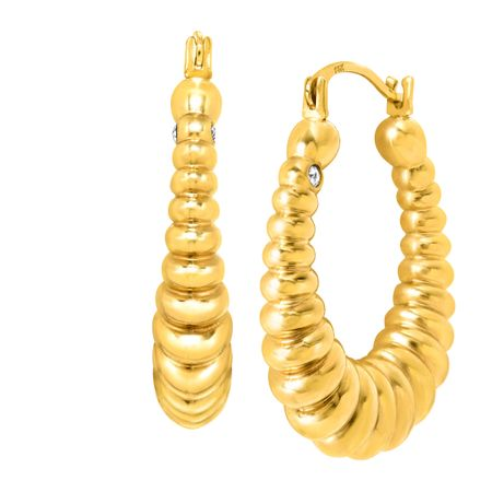 b8bfaa28e Ribbed Hoop Earrings with Swarovski Crystals in 14K Gold | Ribbed ...