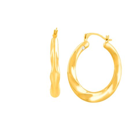 17e908cb6b71c Eternity Gold Twisted Hoop Earrings with Swarovski Crystals in 14K Gold