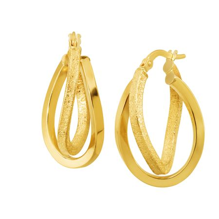 Textured Double-Oval Hoop Earrings