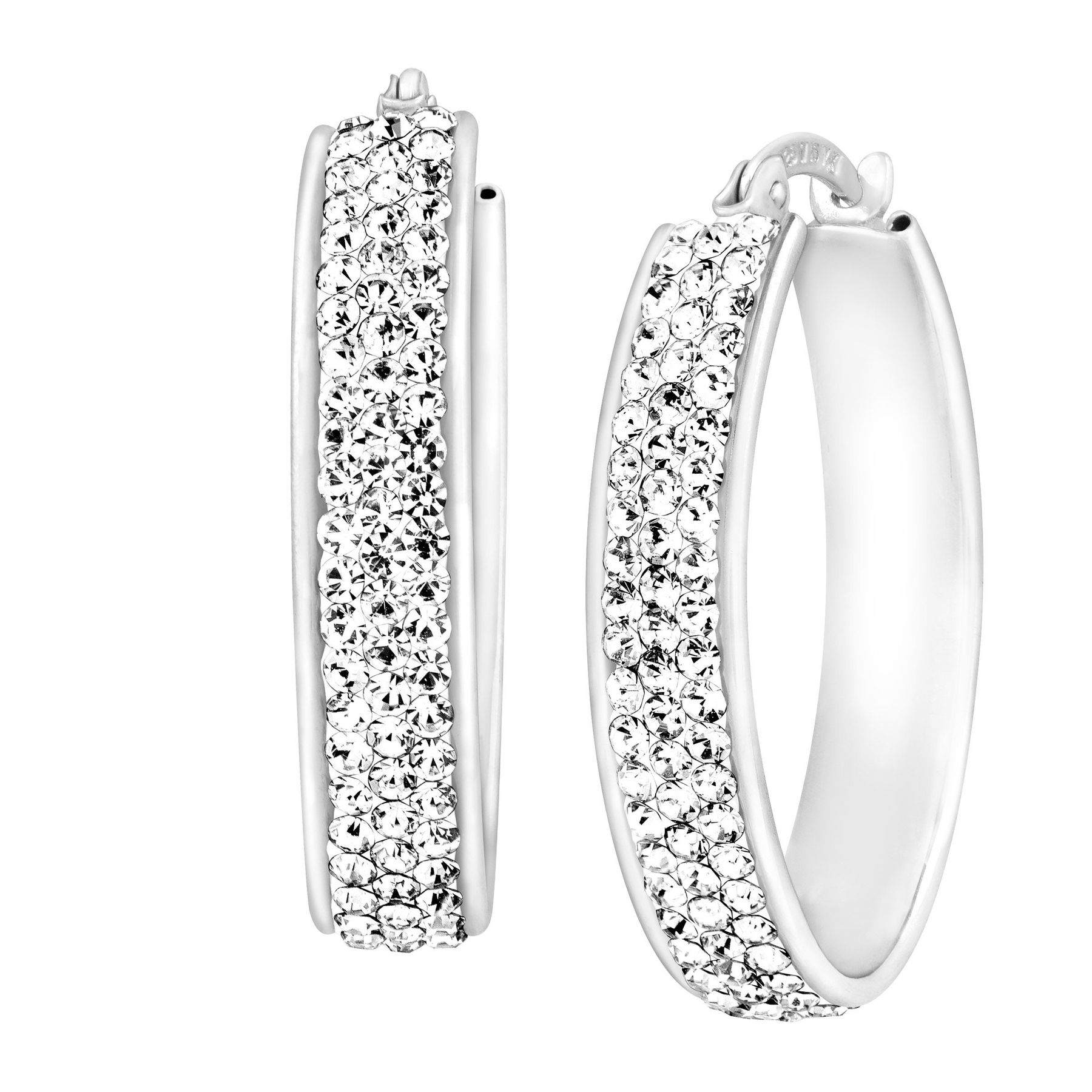 Oval Hoop Earrings With Swarovski Crystals